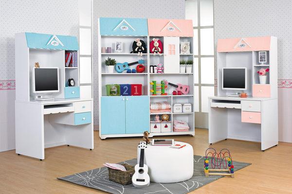 【森可家居】愛丁堡藍色開放書櫃(上門片) 7JX60-7