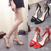 高跟涼鞋 新款一字帶扣細跟涼鞋女黑色高跟鞋絨面百搭露趾女鞋 唯伊時尚