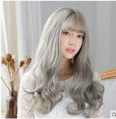 韓國女士假髮長捲髮空氣劉海 長捲髮蓬鬆逼真 長發波浪捲假髮套