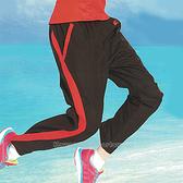 日本名牌 KAWASAKI 男女平織網裡運動長褲-黑紅#K218B2