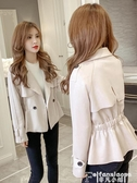 風衣2020年秋冬季風衣翻領韓版收腰顯瘦新款外套女小西裝短款皮絨夾克 非凡小鋪