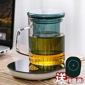 泡茶杯茶水分離水杯女家用玻璃杯子男士咖啡杯帶蓋帶把保溫馬克杯 極有家