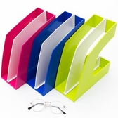 創易彩色文件欄文件架資料架辦公室桌面文件夾收納盒架子框筐學生用品小清新書桌整