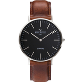 VALENTINO 范倫鐵諾 經典皮革手錶-40mm 71418M黑面鋼色咖啡帶