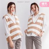 【MS0249】哺乳衣兩件式寬條紋背心襯衫