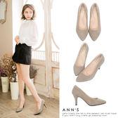 Ann'S危險迷人3D氣墊細緻羊麂皮尖頭高跟鞋-灰