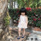 童可愛系帶蓬蓬彩點連身裙