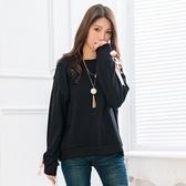 寬版上衣--休閒舒適撞色織帶羅紋開衩寬鬆修身素色長袖上衣(黑.粉XL-4L)-X345眼圈熊中大尺碼◎