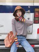 毛衣女寬鬆2018秋裝新款韓版套頭條紋長袖打底針織衫秋季上衣