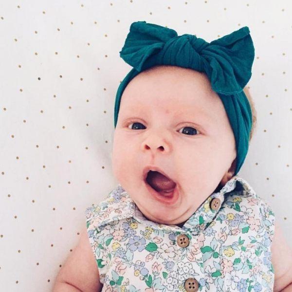 髮飾 髮箍 素色髮帶 Baby Bling 大蝴蝶結寬版寶寶素色髮帶 綠色系