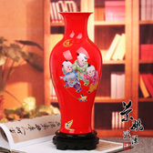 吉祥如意童子紅釉花瓶