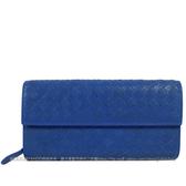茱麗葉精品【全新現貨】BOTTEGA VENETA 150509 經典手工編織小牛皮扣式長夾.藍