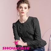 【SHOWCASE】唯美鏤空花拼接雪紡荷葉襬蕾絲外套(黑)-早秋精選外套