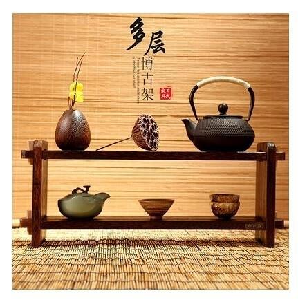 小型家用茶架子展示架實木博古架小擺件 茶壺茶葉收納架多層置物架