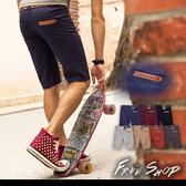 皮標短褲 皮標鈕扣口袋 彈性斜紋布料工作休閒窄版短褲【QZZZ88819 】