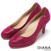 DIANA 超厚切焦糖美人款--裸鑽壓紋羊皮跟鞋-桃紅★特價商品恕不能換貨★