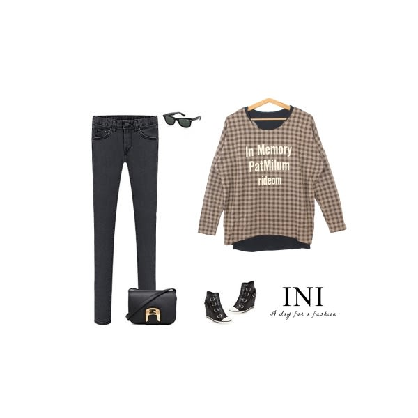 【INI】經典休閒、經典格紋真兩件寬版上衣.卡其色