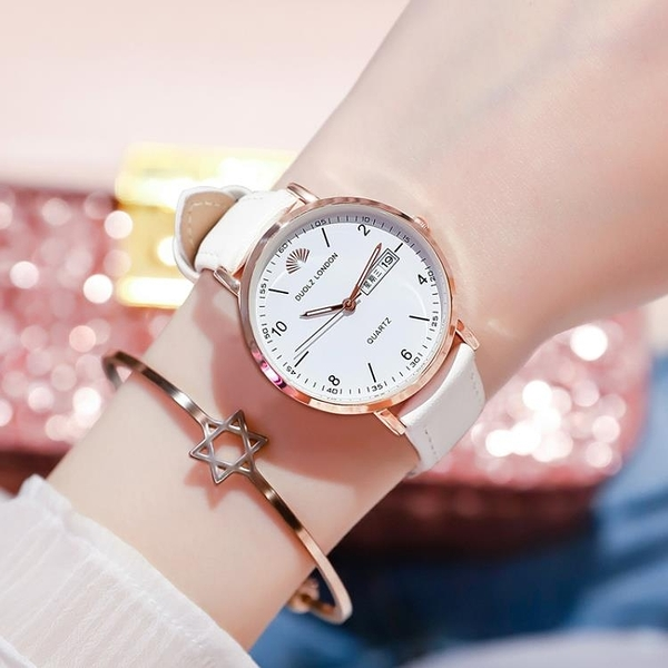 手錶女士名牌 防水機械表時尚簡約氣質學生石英表皮帶款女表 創意空間