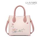 手提包 浪漫春意刺繡花朵方包 柔美粉-La Poupee樂芙比質感包飾 (現貨)