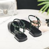 低跟仙女單鞋平底涼鞋女夏2020新款百搭包頭羅馬涼鞋方頭鉚釘