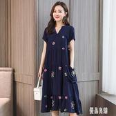 媽媽洋裝 2019新款夏裝連身裙大碼女裝中老年寬鬆版中長款棉綢裙子 LJ1293【優品良鋪】