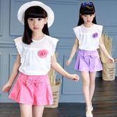 女童夏裝2018新款套裝T恤夏季短袖LJ4556『miss洛羽』