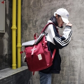戶外雙肩包男女2019新款輕便防水大容量時尚潮流帆布休閒旅行背包  9號潮人館