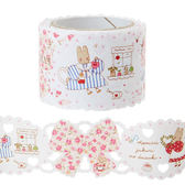 日本兔媽媽紙膠帶裝飾膠帶蕾絲碎花445402通販屋