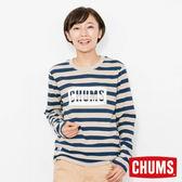CHUMS 日本 女 LOGO 長袖圓領T恤 海軍條紋 CH111284N050