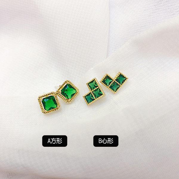 耳環 輕巧 祖母綠 方形 心形 水晶 滾邊 清新 氣質 耳針 耳環【DD1908003】 icoca  10/03