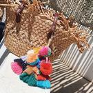 印地安 鑰匙圈 草編包 手工 掛飾 彩色...
