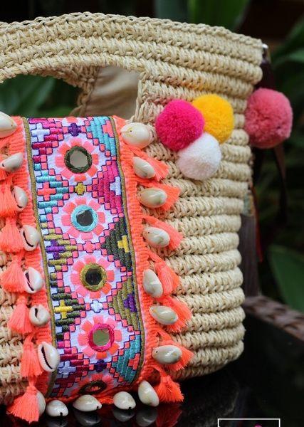 熱銷歐美 高級編織包 民族風包包 手工編織 流蘇 學生書包 男女 電腦包 手提肩背包 草編包 斜背包
