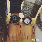 韓版原宿風 男女同款韓版簡約百搭創意潮流復古休閒黑白情侶手表TT52【優品良鋪】