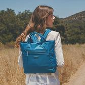 BESIDE-U NUTOPIA 理想國度 優美氣息大容量多功能手提斜背後背包三用包-格紋藍 原廠公司貨