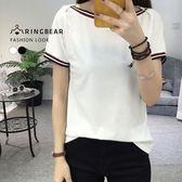 素面--簡約個性羅紋線條平領胸前皮革裝飾短袖上衣(白.黑L-3L)-T284眼圈熊中大尺碼