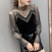 2020秋季新款重工小衫網紗長袖打底衫女蕾絲衫金絲絨上衣女T恤潮