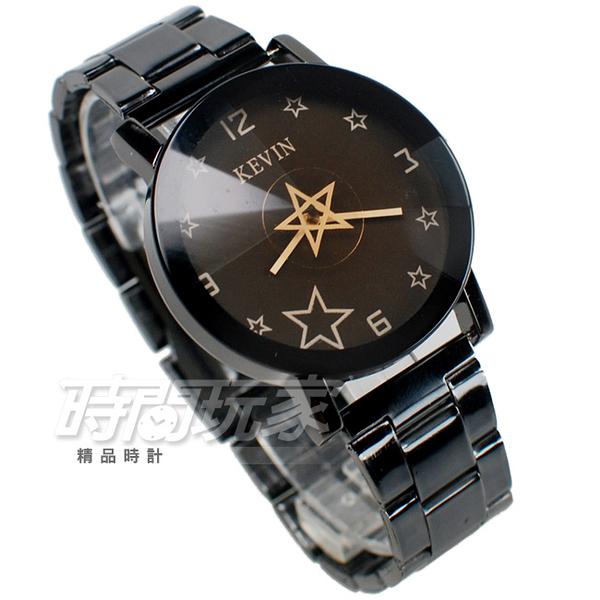 KEVIN 轉動星辰 造型時尚流行錶 立體多角切割鏡面 學生錶 防水手錶 IP黑電鍍 男錶 KV2068星黑大
