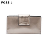 FOSSIL Emma 金屬棕灰真皮RFID搭扣中長夾