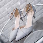 夏季正韓單鞋涼鞋尖頭細跟高跟鞋中低跟包頭淺口女鞋