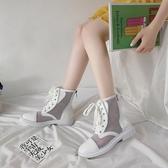 港味馬丁靴女新款夏季薄款配裙子穿的透氣顯腳小英倫風短靴子 【快速出貨】
