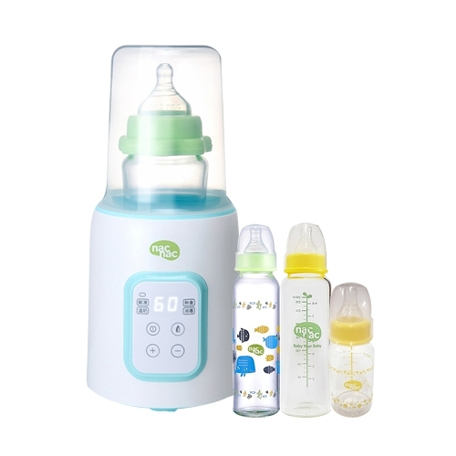 【奇買親子購物網】NacNac多功能溫奶器NIT+NacNac標準耐熱玻璃奶瓶240ml*2+120ml*1(隨機)