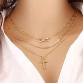 項鏈 81299#新款歐美時尚十字架三層項鏈 跨境熱銷八字造型項飾GD507-B依佳衣