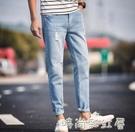 夏季薄款男士牛仔褲男彈力修身小腳九分韓版潮流破洞百搭褲子「時尚彩紅屋」
