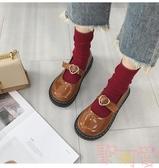 單鞋女韓版平底復古大頭娃娃鞋小皮鞋潮【聚可愛】