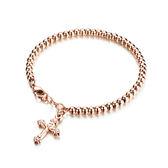 【5折超值價】 韓版時尚玫瑰金十字架圓珠流行手鍊