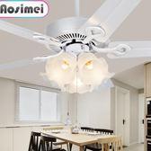 吊扇 吊扇燈 餐廳風扇燈客廳白色歐式電扇燈家用美式帶風扇吊燈 igo 非凡小鋪