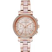 Michael Kors 愛在紐約晶鑽計時手錶-玫瑰金/38mm MK6560