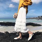 秋季女裝新款韓版寬鬆百搭中長款半身裙純色高腰荷葉邊蛋糕裙長裙