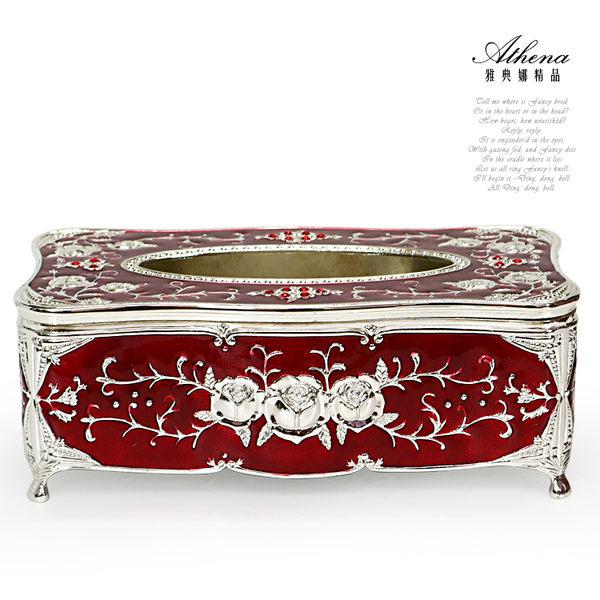 【雅典娜家飾】紅色琺瑯銀玫瑰浮雕合金有腳紙巾盒-GC15