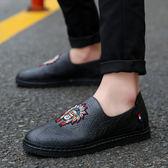 夏季豆豆懶人潮鞋潮流正版男鞋子社會精神小伙英倫百搭男士休閒鞋 【萬聖節八五折鉅惠】
